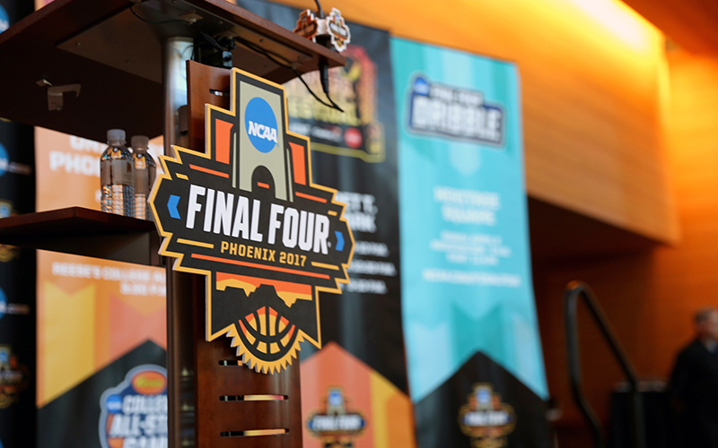 A tight shot of the official Final Four Phoenix 2017 logo on the podium at the Phoenix Convention Center on Jan. 25, 2017. (Photo by Nicole Praga/Cronkite News)