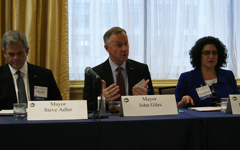 Mesa Mayor John Giles, speaking at a conference of mayors in Washington, D.C., said his city's efforts to help homeless veterans have brought it close to 'functional zero' for the number of vets in need. (Photo by Joseph Guzman/Cronkite News)