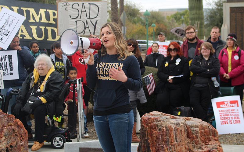 Jana Selig coordinated an anti-Trump protest at the Arizona Capitol. (Photo by Ethan Millman/Cronkite News)
