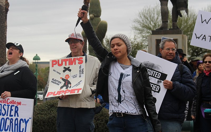 People protesting President Donald Trump on Inauguration Day at the Arizona Capitol. (Photo by Ethan Millman/Cronkite News)