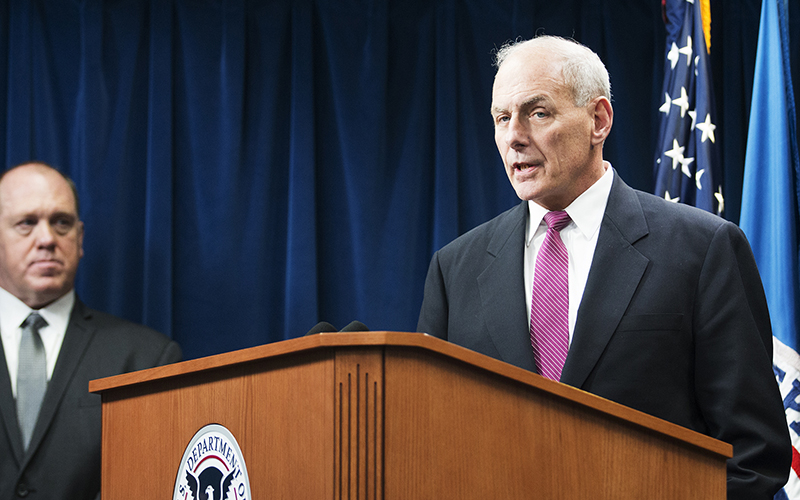 """Homeland Security Secretary John Kelly defends President Donald Trump's order limiting refugees to this country as necessary for national security, and vows his department will enforce it """"humanely."""" (Photo by Andres Guerra Luz/Cronkite News)"""