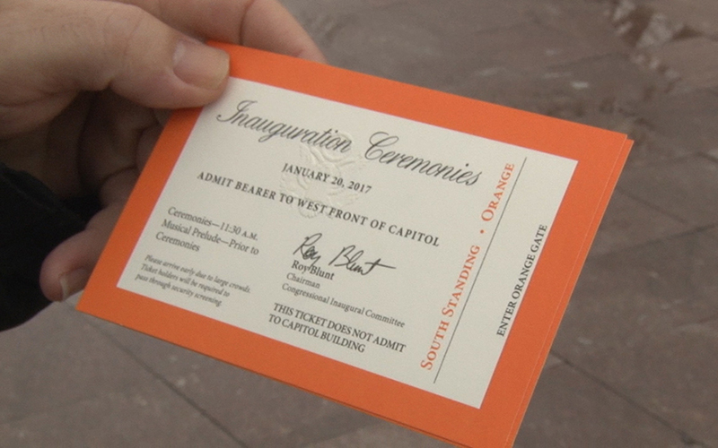 Tickets for one of the standing areas on the West Front of the Capitol to witness President-elect Donald Trump's swearing-in Friday. (Photo by Tyler Fingert/Cronkite News)