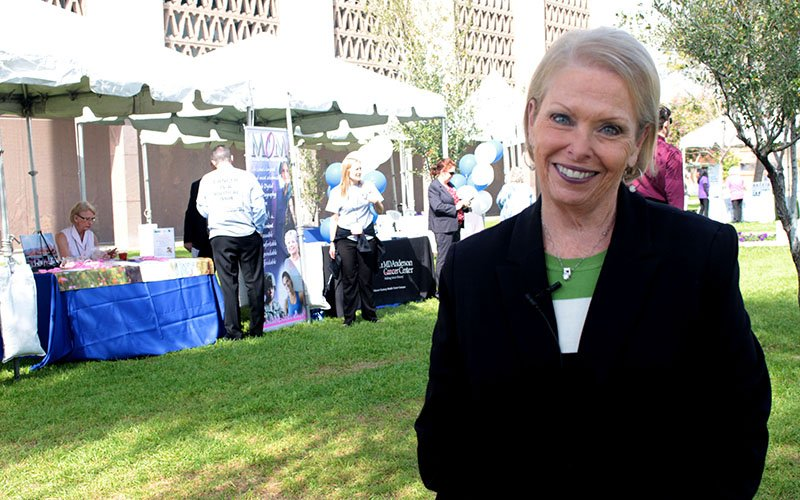Linda Zenonian, a skin cancer survivor, talked about her experiences at a cancer awareness luncheon on the Arizona State Capitol lawn on Feb 22, 2017. (Photo by Devon Cordell/ Cronkite News)