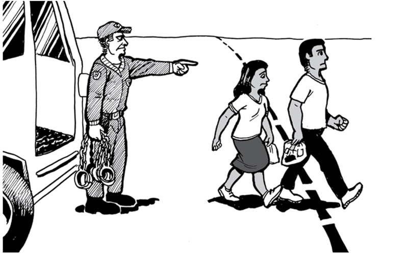 An I.C.E. officer is shown telling parents to cross the border back to Mexico in this cartoon. It is included in a guide that the Florence Project gives to undocumented parents. (Courtesy of The Florence Immigrant & Refugee Rights Project).