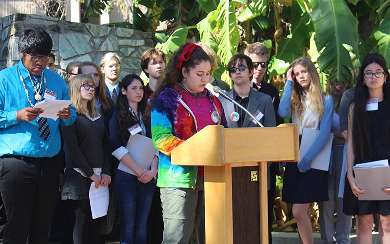 Anna Rose Mohr-Almeida, a 14-year-old Westwood High School freshman, highlighted air quality concerns at Environmental Day. (Photo by Ethan Millman / Cronkite News)