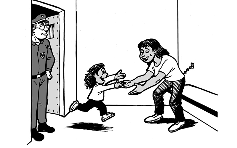 This cartoon depicting a mother who has been detained by I.C.E. is included in a guide that helps undocumented parents prepare for the possibility of being detained, deported or separated from their children. (Courtesy of The Florence Immigrant & Refugee Rights Project)