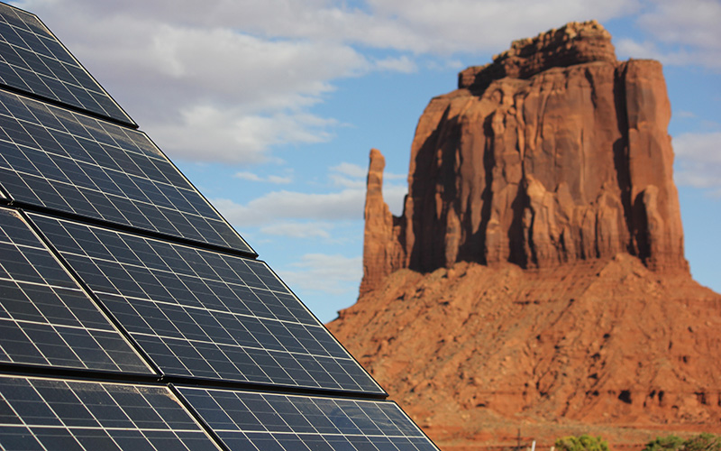 The Navajo Tribal Utility Authority has installed solar systems at more than 200 homes on the reservation. (Photo by Katrin Mehler/Cronkite News)