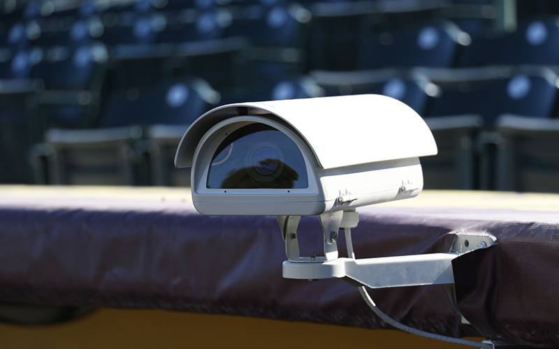 Cameras are stationed atop the dugout at Phoenix Municipal Stadium in Phoenix, Ariz., Tuesday, Jan. 31, 2017. (Photo by Fabian Ardaya/Cronkite News)