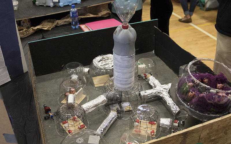 Teams are required to build models detailing potential living quarters for the crews on Phobos as well as ways to stay sustainable. (Photo by Josh Orcutt/Cronkite News)