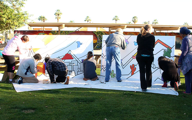 Central Christian Church of Arizona organized the Painting for Peace: Downtown Community Mural day and invited the public to join in the effort. (Photo by Rachael Bouley/Cronkite News)