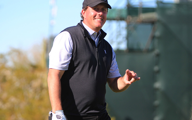 Arizona State alum Phil Mickelson shows his school spirit during the Waste Management Phoenix Open in Scottsdale. (Photo by Tyler Drake/ Cronkite News)