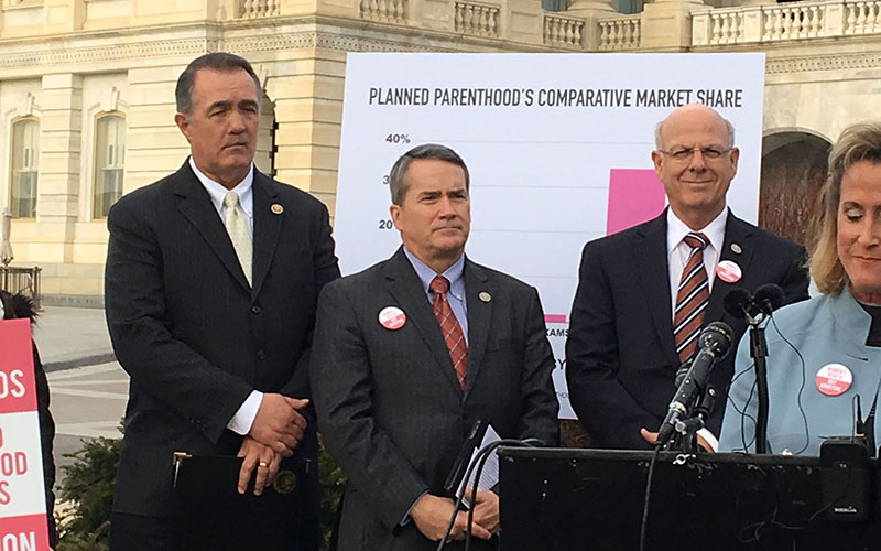 Rep. Trent Franks, R-Glendale, left, and other pro-life members of Congress at a Capitol Hill news conference where they renewed calls to defund Planned Parenthood. (Photo by Kendra Penningroth/Cronkite News)