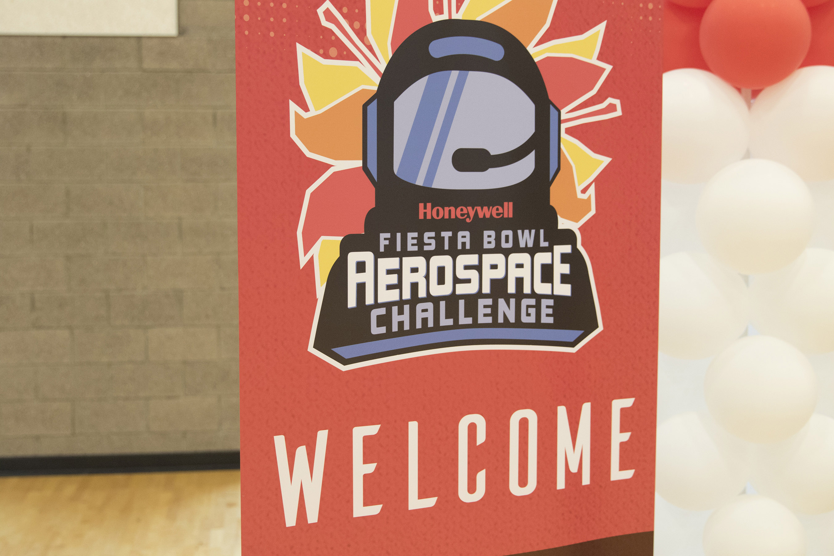 A welcome sign greets students to the Honeywell Fiesta Bowl Aerospace Challenge. Over 1,300 students from 20 different Arizona schools competed. (Photo by Josh Orcutt/Cronkite News)