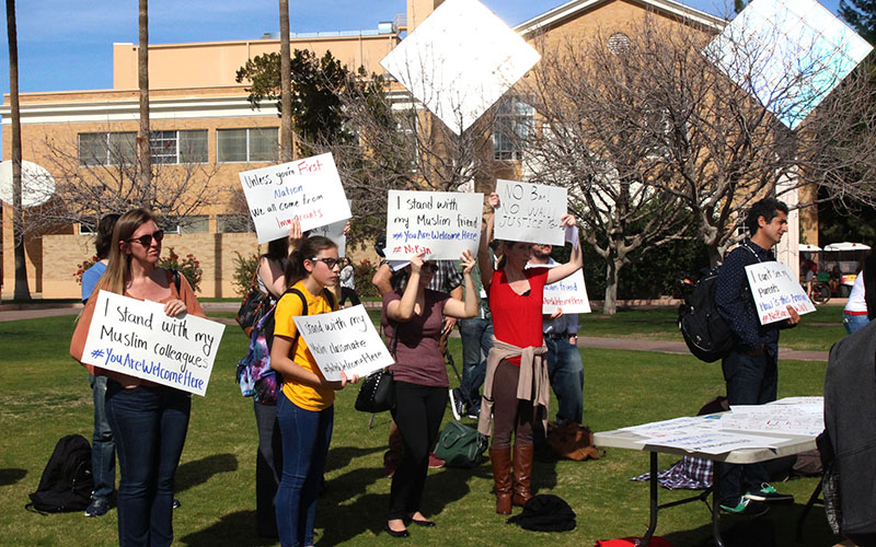 Students and professors on the ASU Tempe Campus, rally in support of those affected by President Trump's executive order, attempting to halt immigration and travel from seven predominately Muslim countries. (Photo by Rachael Bouley/Cronkite News)