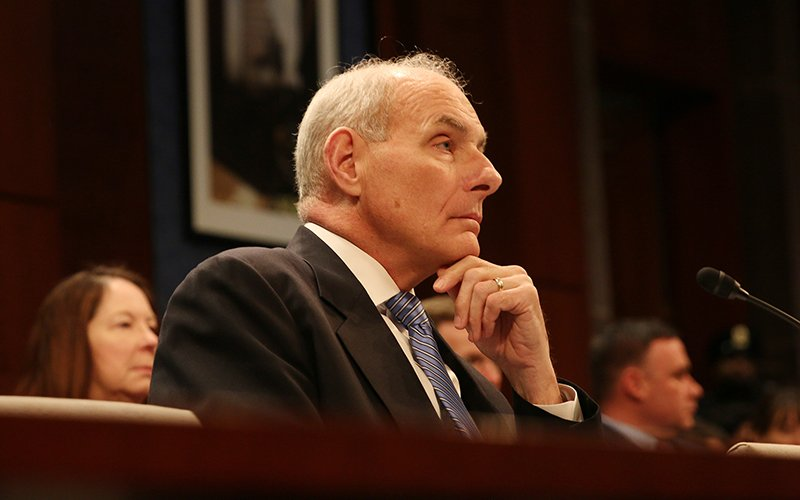 Homeland Security Secretary John Kelly listens to House lawmakers' concerns about President Donald Trump's executive orders on border security and on limiting travel to the U.S. from certain countries. (Photo by Andres Guerra Luz/Cronkite News)