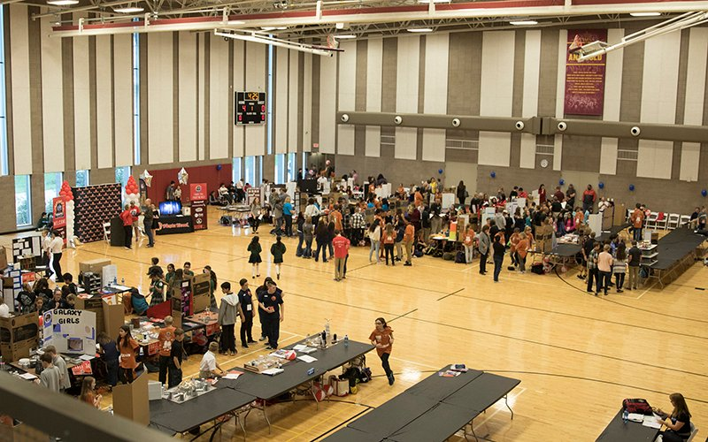 A view from above of the Honeywell Fiesta Bowl Aerospace Challenge held on Arizona State University - Polytechnic Campus in Mesa on Monday, Feb. 6, 2017. (Photo by Josh Orcutt/Cronkite News)
