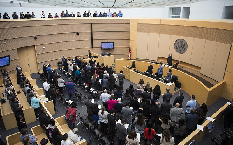 71 new citizens from 21 countries were naturalized during the ceremony on Friday, Feb. 3, 2017. (Photo by Johanna Huckeba/Cronkite News)