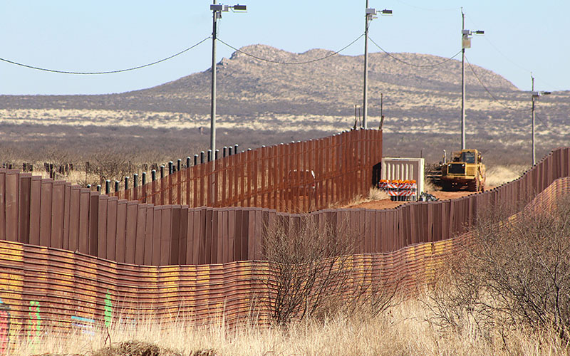 Construction in Naco, Mexico, began  in January, yards from the border fence painting. (Photo by Charlene Santiago/Cronkite News)