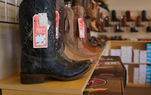 Boots are a popular item in Williams, and Western Outfitters and DeBerge Saddlery is ready to cater to the working cowboy. (Photo by Charlie Clark/Cronkite News)