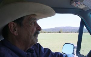 Williams Mayor John Moore drives his pickup truck around the Historic Hat Ranch. (Photo by Charlie Clark/Cronkite News)