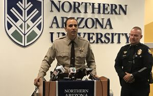 Maricopa County Sheriff Paul Penzone joins other law enforcement officials to talk about the need to hire more officers. (Photo by Farai Bennett/Cronkite News)