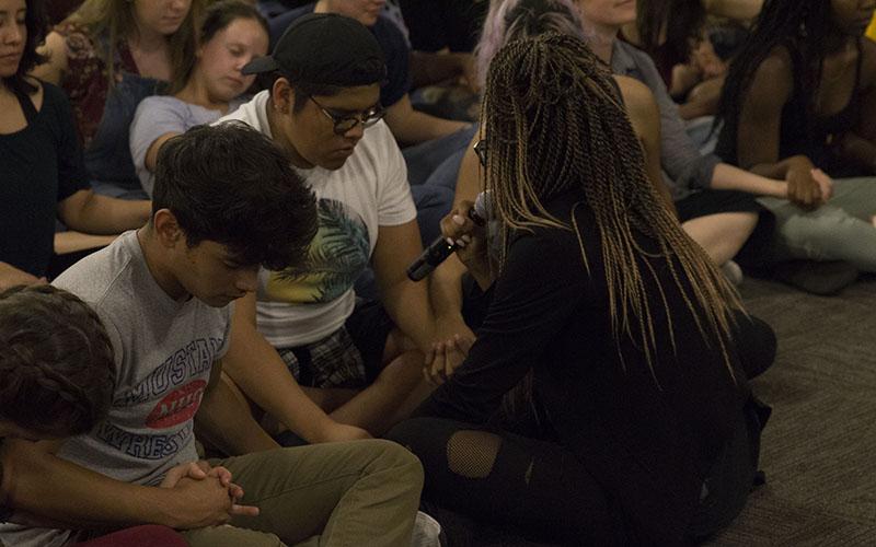 Groups calmly sitting