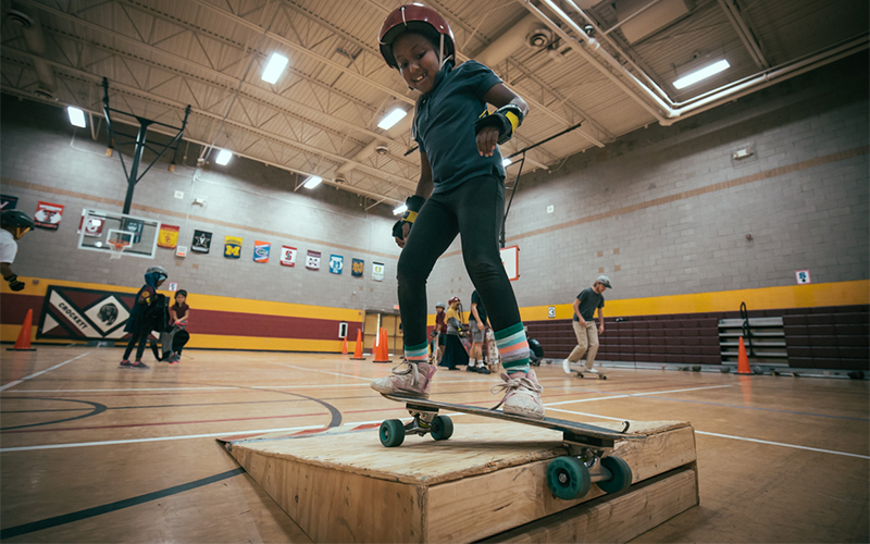 Ramps, rails and other obstacles are available to students who wish to further challenge themselves. (Photo by Ryan Dent/Cronkite News)