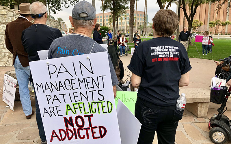 Afflicted not addicted': Chronic pain sufferers rally for