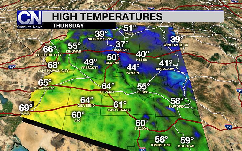 Thursday forecast: temperatures huddle below average