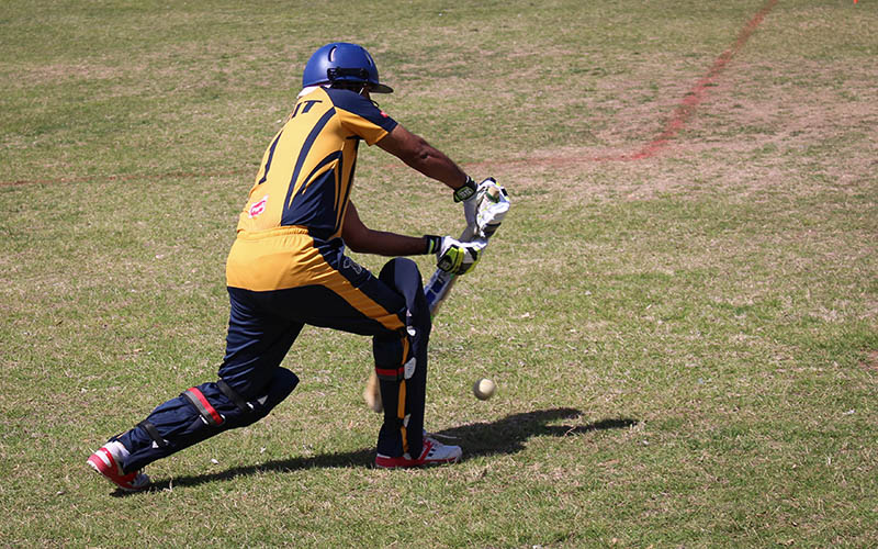 Arizona Falcons batsman Varun Ranganat playing cricket