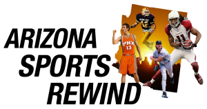 Logo for Arizona Sports Rewind, with images of sports players from major sports overlaying the sunset in the shape of the state.