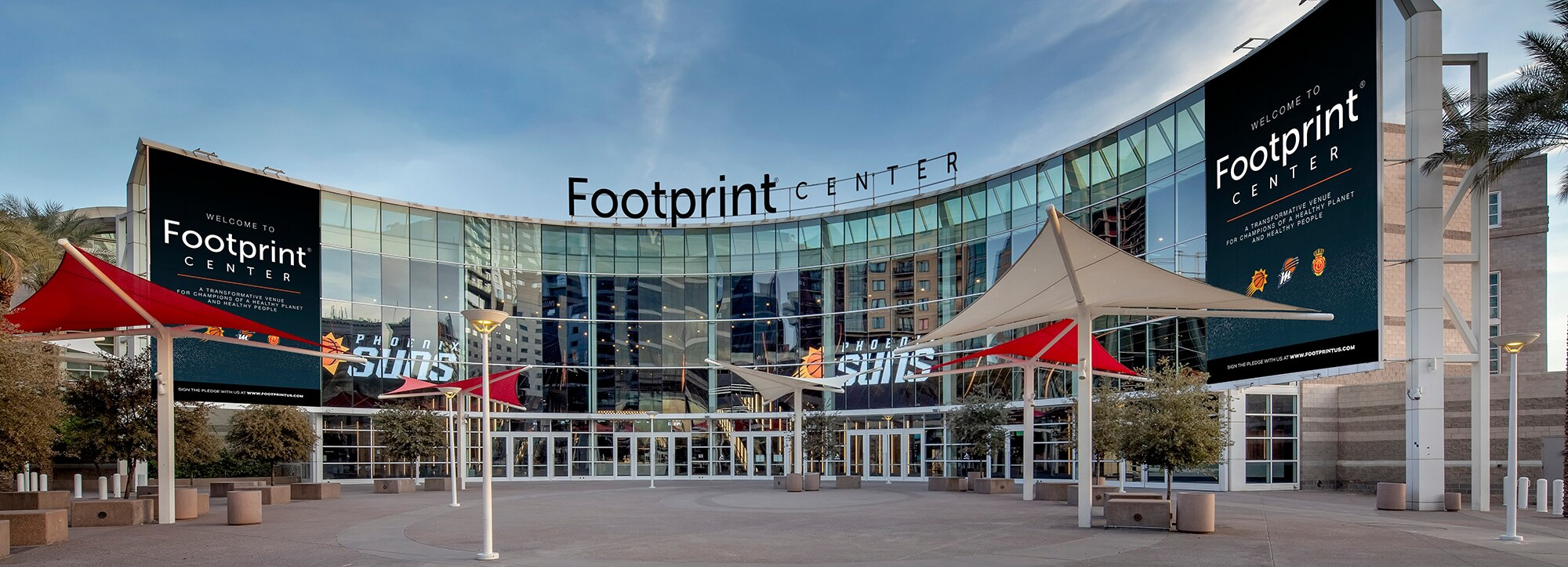 Footprint will be the latest company with its name on the marquee of the downtown arena, following America West, USAirways and Talking Stick Resort. (Photo courtesy of Suns Legacy Partners and Footprint)
