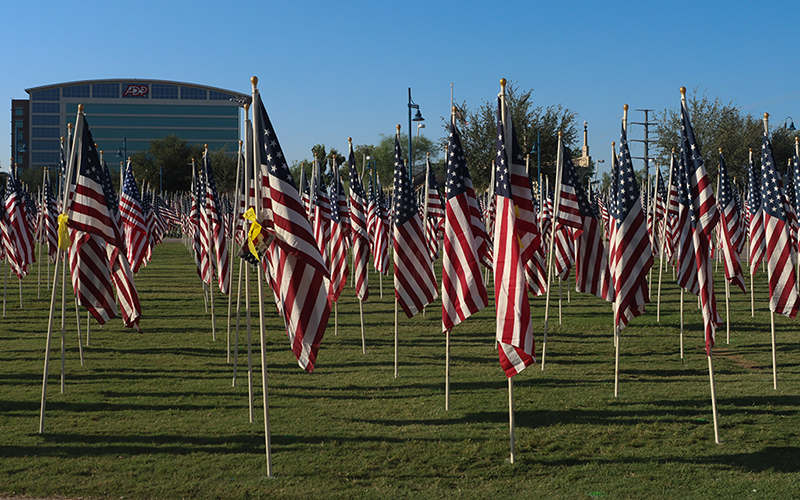 The Tempe Healing Fields pays tribute to those who died as a result of the Sept. 11, 2001, terrorist attacks in New York City; Washington, D.C.; and Shanksville, Pennsylvania.