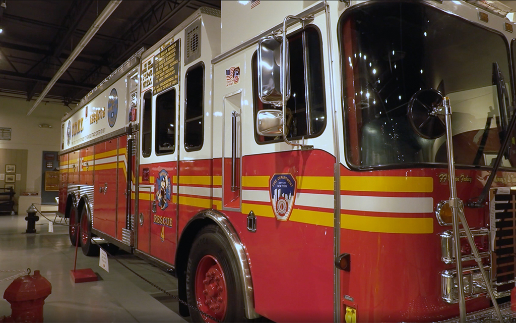The New York City Fire Department Rescue 4 fire engine was at Ground Zero in New York City on 9/11 and is now housed in the Hall of Flame Museum of Firefighting in Phoenix. (Photo by Molly Hudson/Cronkite News)